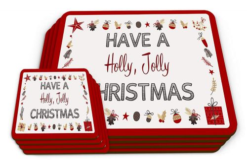 Set of Have A Holly Jolly Christmas Novelty Glossy Placemat & Coaster
